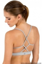 CROSS-STRAP SPORTS BRA - GREY