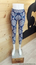 Chandra Yoga Patterned Legging- Dark Blue
