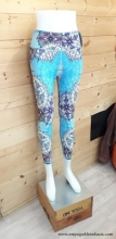 Chandra Yoga  Patterned  Legging- Blue