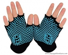Mato & Hash Fingerless Exercise Grip Gloves - Black dot Blue
