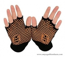 Mato & Hash Fingerless Exercise Grip Gloves - Black dot Orange