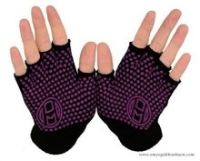 Mato & Hash Fingerless Exercise Grip Gloves - Black dot Purple