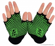 Mato & Hash Fingerless Exercise Grip Gloves - Black dot Green